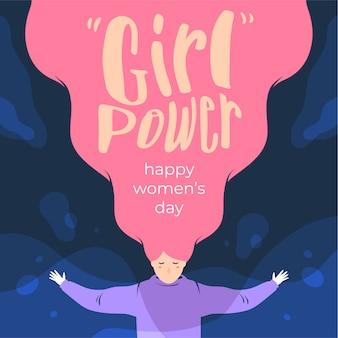 Feliz dia das mulheres menina poder citações ilustração