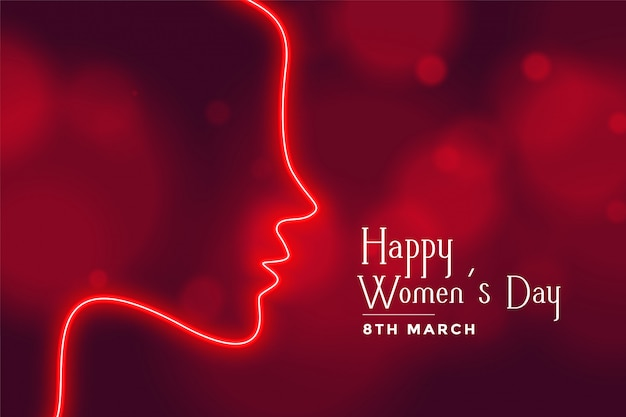 Feliz dia das mulheres néon estilo vermelho bokeh de fundo