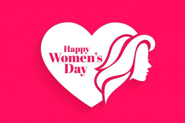 Feliz dia das mulheres rosto e coração cartão