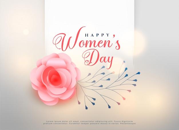 Feliz dia das mulheres subiu cartão de fundo de flor