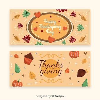 Feliz dia de ação de graças banner conjunto com alimentos e abóboras
