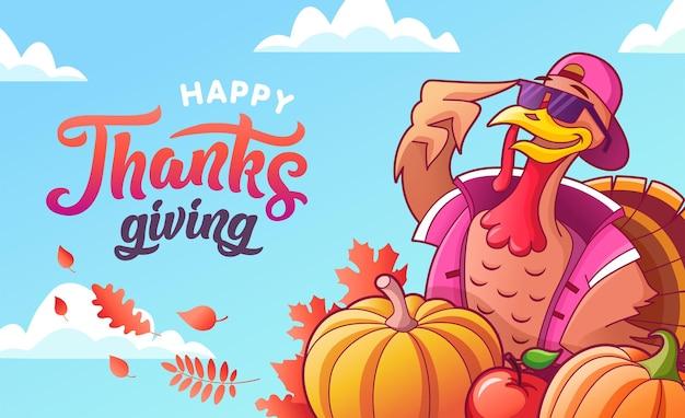 Feliz dia de ação de graças. banner do vetor. peru legal em copos, abóboras, maçã. folhas de outono, letras