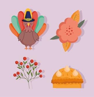 Feliz dia de ação de graças, bolo de flores de peru, bagas, ramos, contras