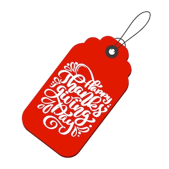 Feliz dia de ação de graças caligrafia texto na tag
