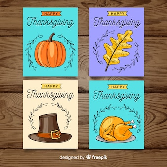 Feliz dia de ação de Graças cartão coleção na mão desenhada estilo