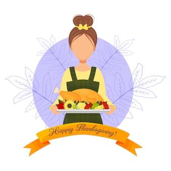 Feliz dia de ação de graças. cartão com linda garota com a turquia. estilo de desenho animado. ilustração vetorial.