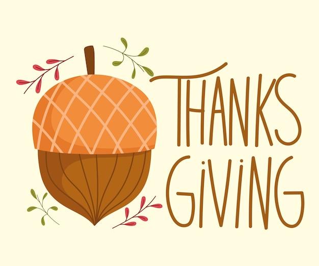 Feliz dia de ação de graças, cartão de celebração de bolota de folhas de outono