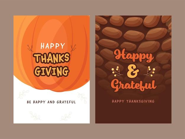 Feliz dia de ação de graças, cartão ou modelo de design em duas opções de cores.