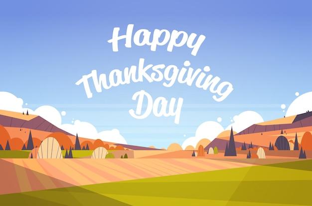 Feliz dia de ação de graças cartão texto letras outono outono paisagem