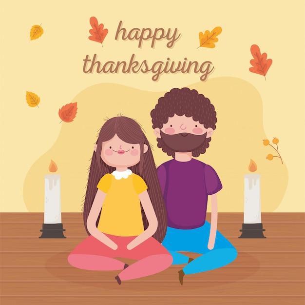 Feliz dia de ação de graças casal e velas celebração
