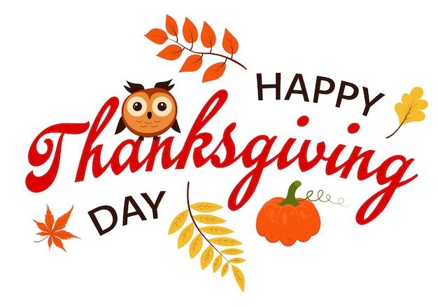Feliz dia de ação de graças com abóbora coruja e folhas de outono
