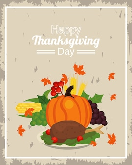Feliz dia de ação de graças com abóbora e turquia no prato.