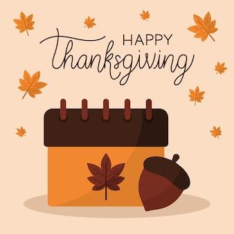 Feliz dia de ação de graças com design de bolota e folhas de calendário, tema da temporada de outono