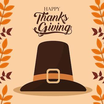 Feliz dia de ação de graças com design de chapéu e folhas, tema da temporada de outono