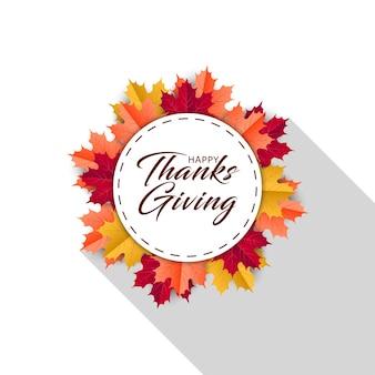 Feliz dia de ação de graças com folhas de outono. cartões circulares de outono são como grinaldas
