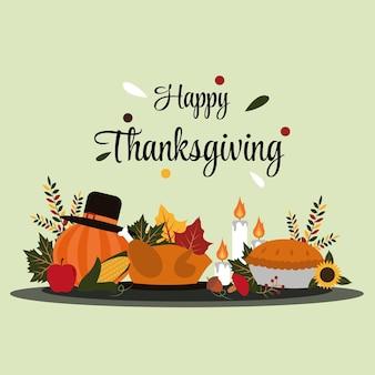 Feliz dia de ação de graças comida outono outono ilustração plana