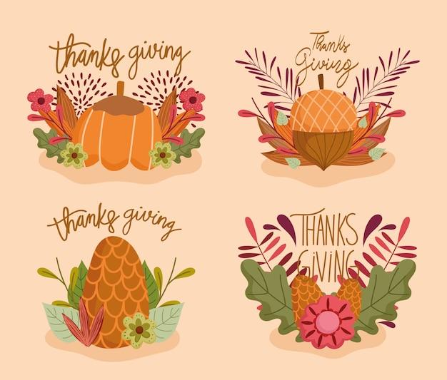 Feliz dia de ação de graças, conjunto de inscrições flor abóbora bolota pinha e folhas de outono