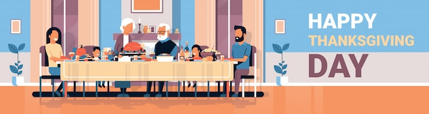 Feliz dia de ação de graças família de várias gerações sentado mesa comemorando o dia de graças