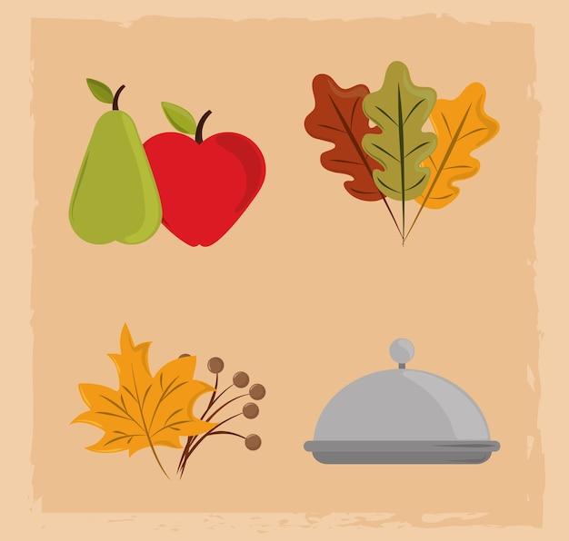 Feliz dia de ação de graças, frutas no prato e ícones de folhagem de outono