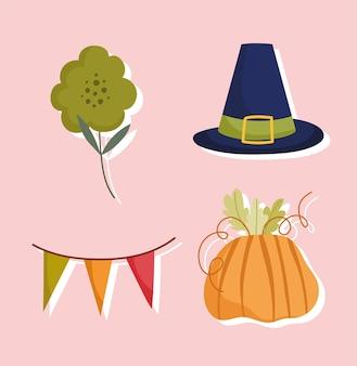 Feliz dia de ação de graças, ícones de decoração de bandeirola de flor de abóbora chapéu