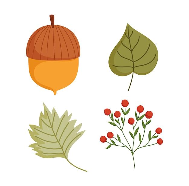 Feliz dia de ação de graças, ícones de folhagem de bolota de outono