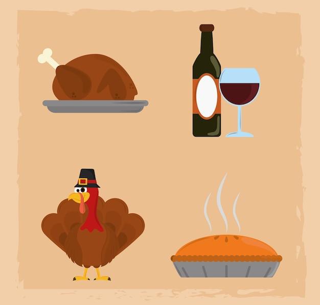Feliz dia de ação de graças, ícones de jantar de bolo de peru com garrafa de vinho
