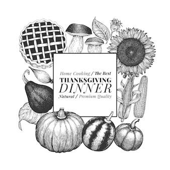 Feliz dia de ação de graças. mão ilustrações desenhadas. modelo de design de ação de graças de saudação em estilo retro. fundo de outono.