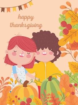 Feliz dia de ação de graças menino bonito e menina colhem folhas de outono de abóbora