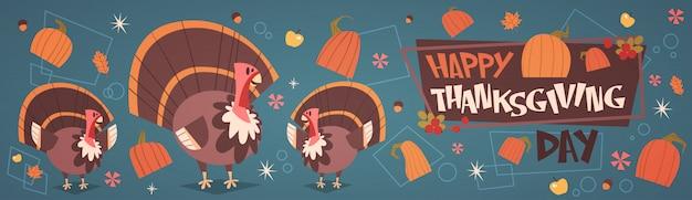 Feliz dia de ação de graças outono tradicional colheita férias cartão com a turquia