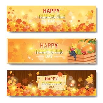 Feliz dia de ação de graças outono tradicional conjunto de banners horizontais
