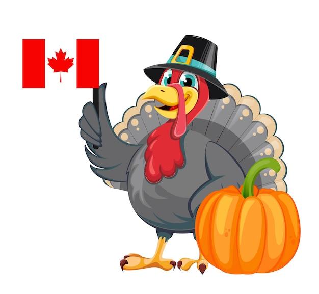 Feliz dia de ação de graças. personagem de desenho animado pássaro peru com chapéu de peregrino segurando a bandeira canadense