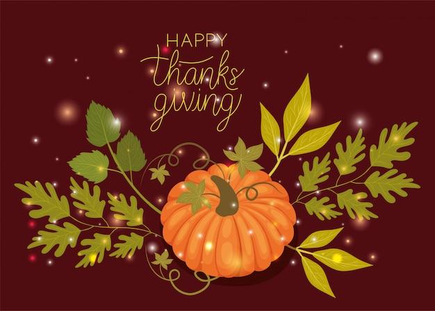 Feliz dia de ação de graças, saudação de feriado de outono e ilustração tradicional
