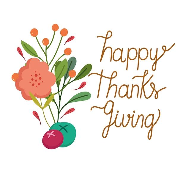 Feliz dia de ação de graças, texto flor fruta ramo cartão