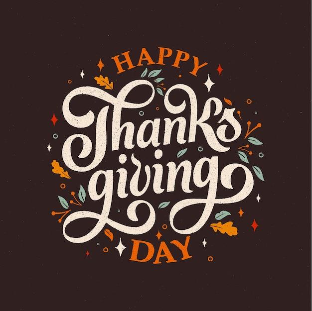 Feliz dia de ação de graças tipografia