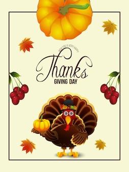 Feliz dia de agradecimento ilustração de fundo de pássaro peru