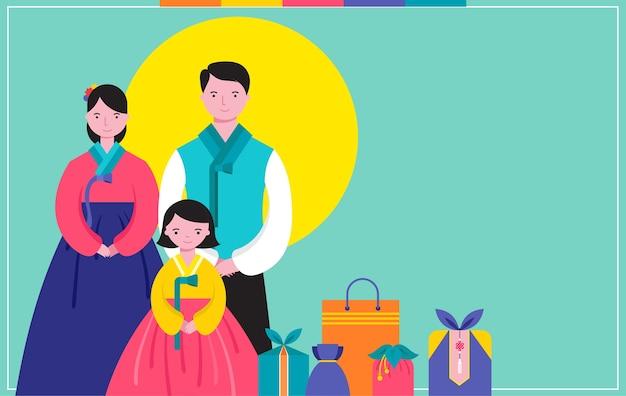 Feliz dia de ano novo tradicional coreano. vestido tradicional coreano de família feliz.