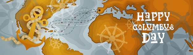 Feliz dia de colombo américa descubra holiday poster cartão retro mapa do mundo horizontal banner