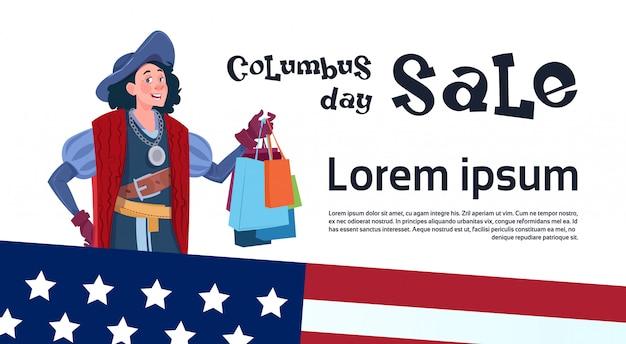 Feliz dia de colombo venda de férias sazonais desconto de compras américa descubra cartaz cartão de saudação