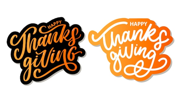 Feliz dia de graças com pincel de texto de caligrafia de letras