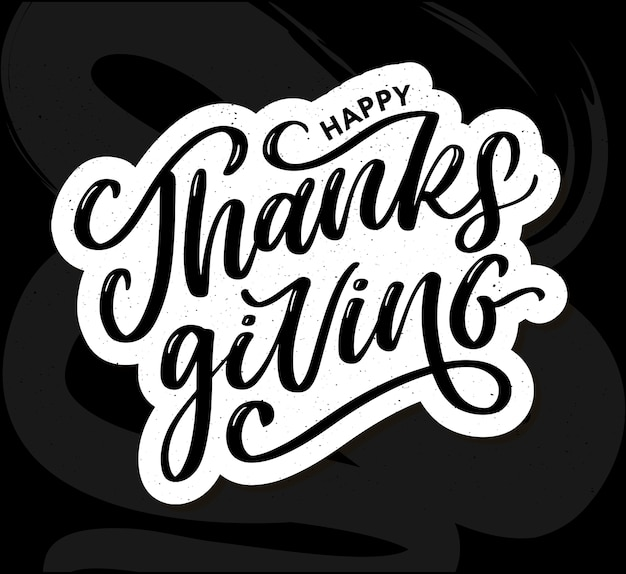 Feliz dia de graças com pincel de texto de caligrafia