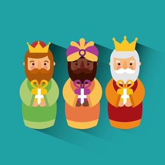 Feliz dia de los reyes três reis mágicos trazem presentes a jesus