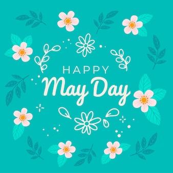 Feliz dia de maio papel de parede com flores e folhas