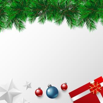 Feliz dia de natal banner com vetor, estrelas de ouro, bolas de natal red blue white backgro
