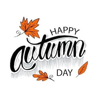 Feliz dia de outono. rotulação