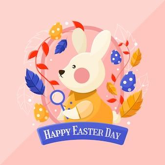 Feliz dia de páscoa banner com coelho
