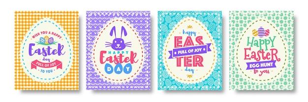 Feliz dia de páscoa cartão com tipografia deseja estilo de cor para venda de banner