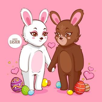 Feliz dia de páscoa, coelho branco fofo, design de personagens de coelho.