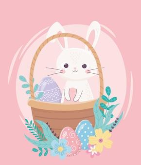 Feliz dia de páscoa, coelho e ovo decorativo na decoração de flores de cesta