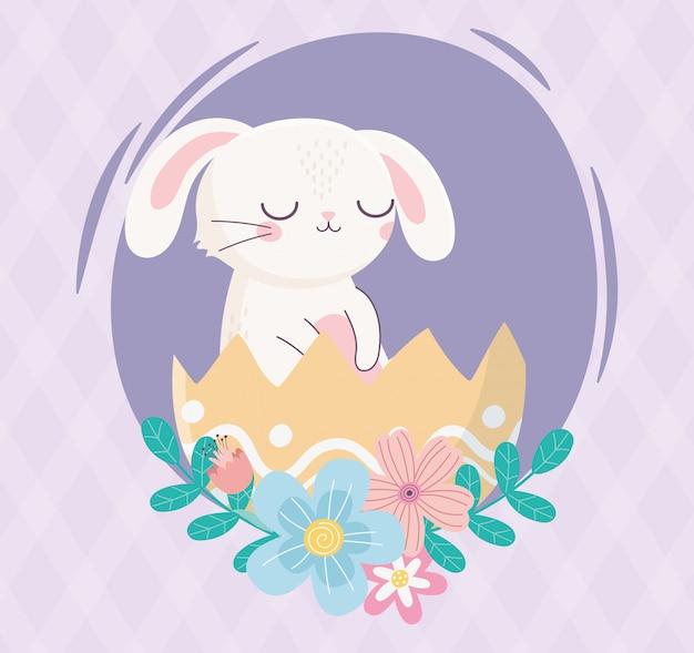 Feliz dia de páscoa, coelho na casca de ovo flores folhagem