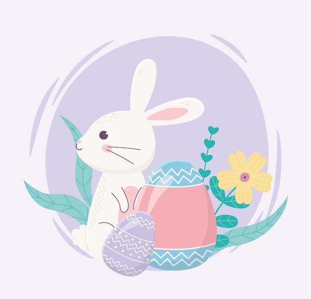 Feliz dia de páscoa, coelho pintado ovos flores folhagem decoração